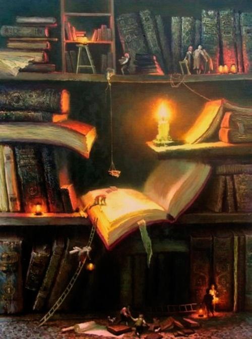 La casa, la mia casa, sarà piena di libri, quei libri, quelli dalla copertina blu: una montagna, un oceano di libri: in sala, in camera, in cucina, in bagno, sul balcone. Dovunque mi volterò non vedrò altro che libri...    (Roberto Vecchioni, Il libraio di Selinunte)  Dipinto di Rekunenko Valentin  http://scrivi.10righedailibri.it/