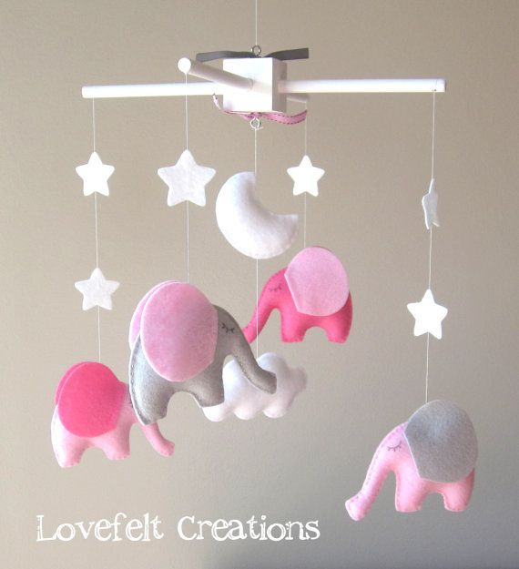 Baby mobile Elephant Mobile by LoveFeltXoXo Nursery Mobile Crib Mobile