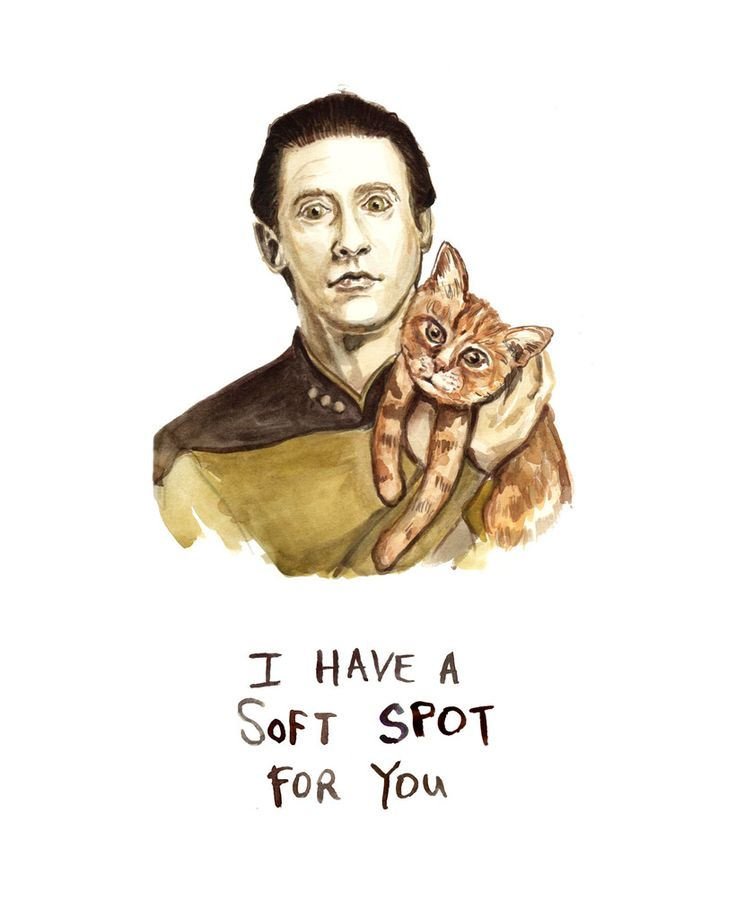 Commander Data - Star Trek - Data and His Cat Spot - Watercolor Illustration Print