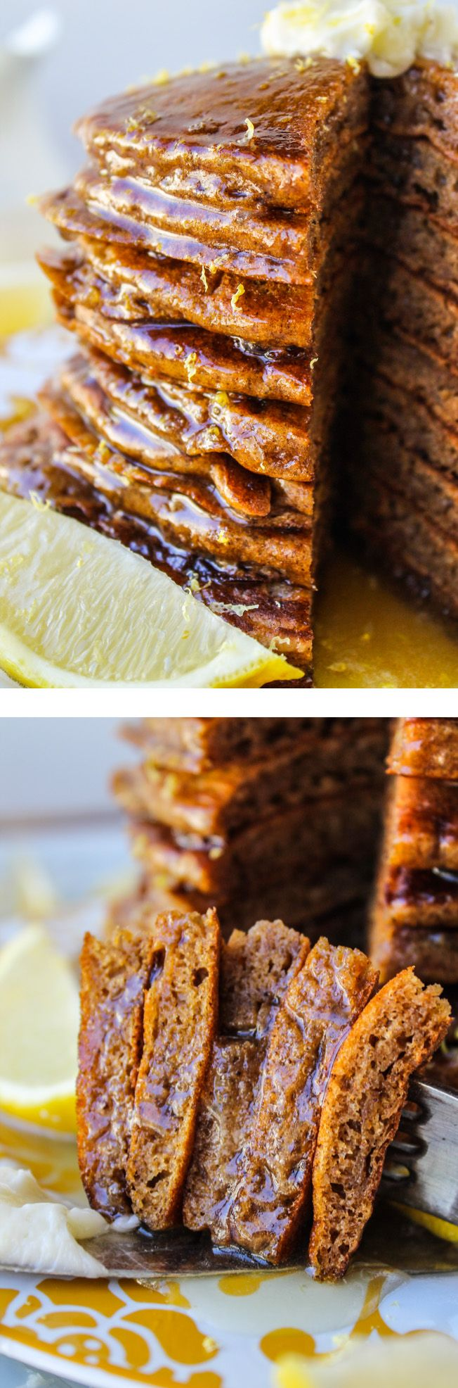 Gingerbread Pancakes with Lemon Syrup - The Food Charlatan // These would be the perfect pancakes for Christmas morning! Lemon Buttermilk Syrup is where it's at.