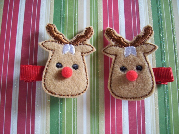 Adorable Rudolph the Red-Nosed Reindeer Felt Hair Clips Girls Hair Accessories