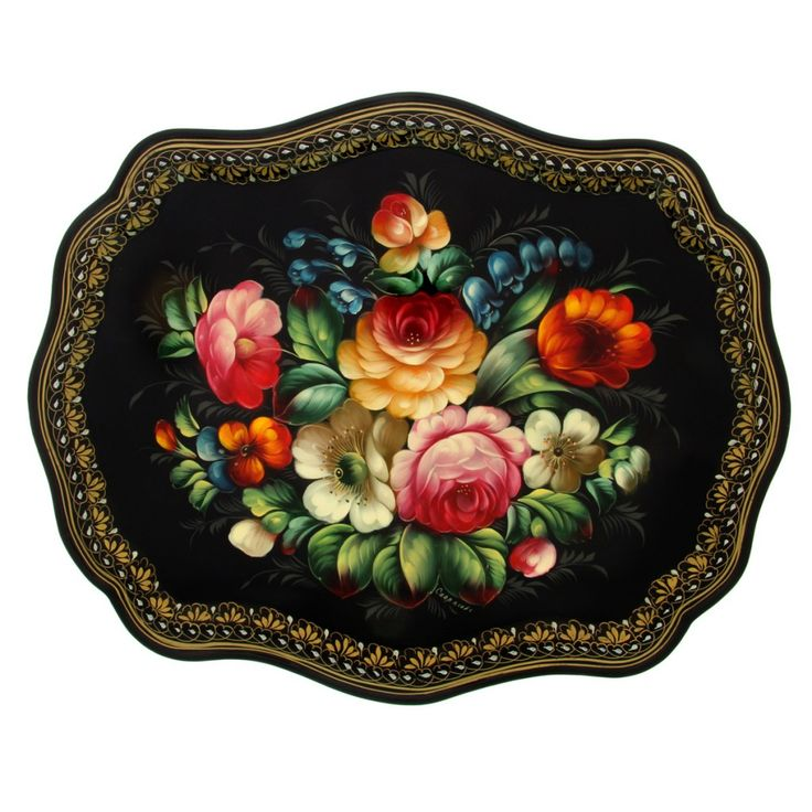 Russian metal tray handmadepainted and lacquered.Origin of Jostovo