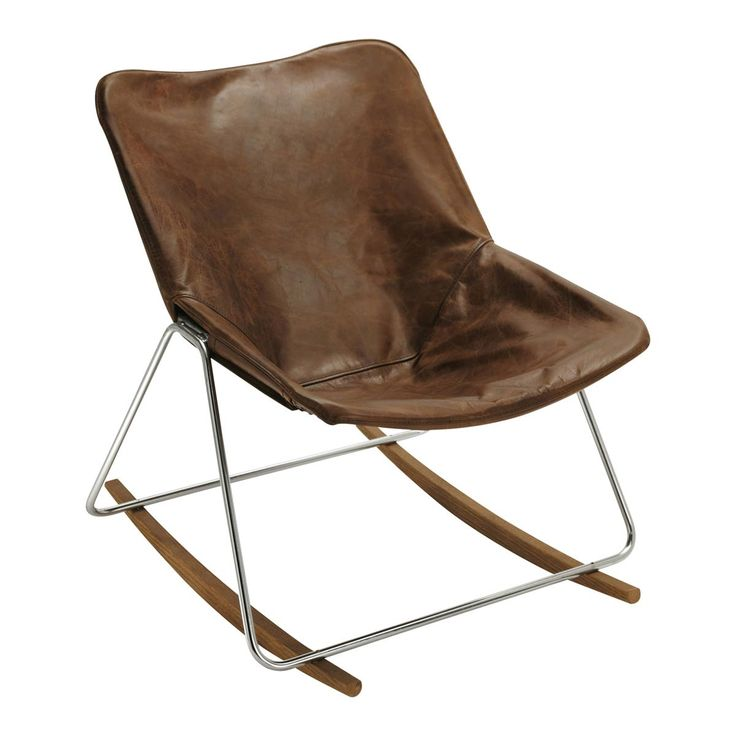 Sedia a dondolo vintage in pelle marrone Guariche G1
