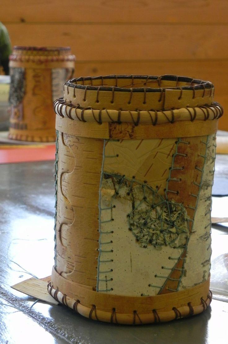 Patchwork Birch Bark Basket made in class with Karen Tembreull, Sievers  School of Fiber Arts
