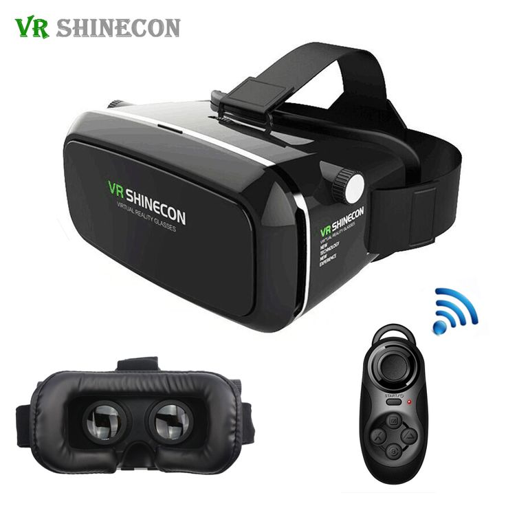 VR Shinecon Smartphone Virtual Reality 3D Glasses Helmet Google Cardboard 360 VR BOX Headset For 4-6' + Remote Controller