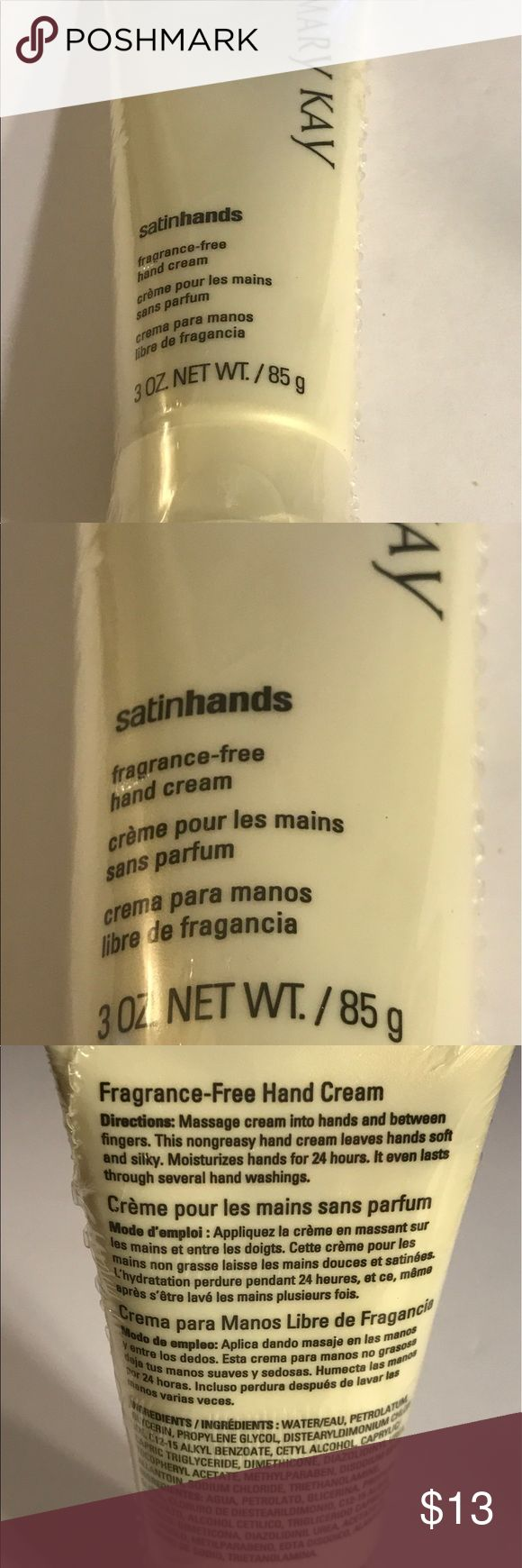 Mary Kay satin hands fragrance free hand cream Mary Kay satin hands fragrance free hand cream, non greasy hand cream. Thanks for checking out Luxury1cosmetics!! Offers are welcomed, bundles are discounted!!! Mary Kay Makeup