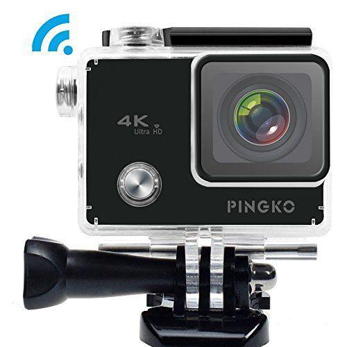 pingko Sport 4K WiFi Caméra d'action, 5,1cm Écran LED haute lumière 12MP 1080P HD Grand Angle 170degrés Objectif Sony Capteur Gyro…