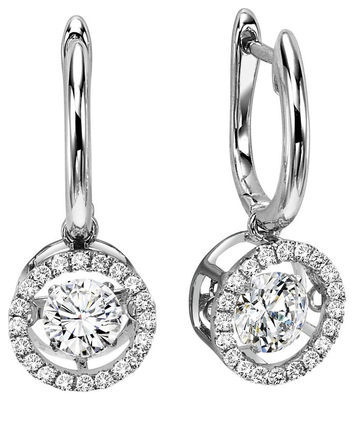 White Gold Rhythm Of Love Diamond Drop Earrings This Brand New Design Features Round Diamonds Set In A Circle Halo With The Cent