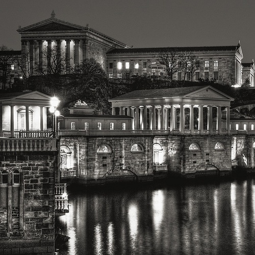 Philadelphia Art Museum and Water Works by Michael Penn Street Photography