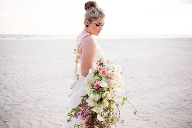 African Styled wedding Shoot #BeachWedding #fynbos #blushingbride - Wedding dress, flowers