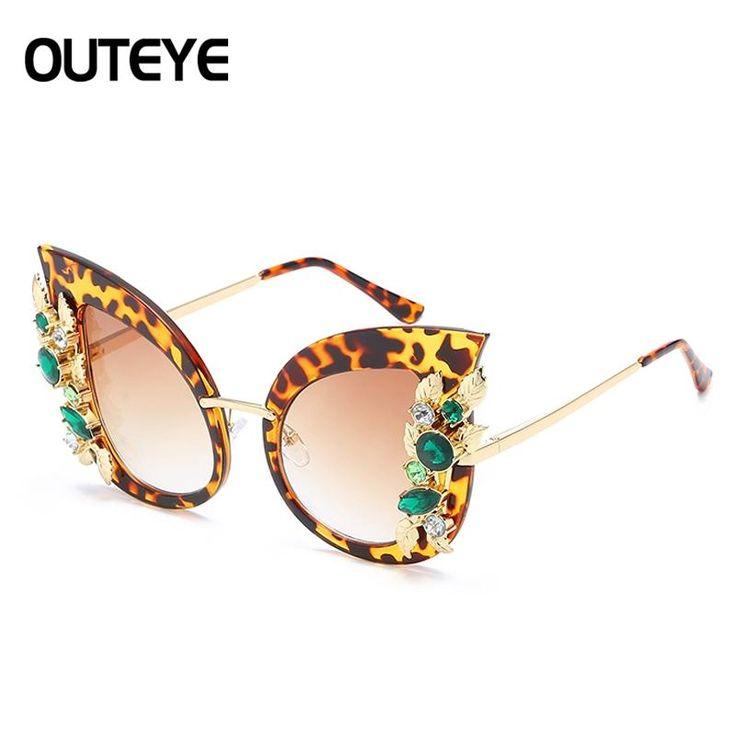 OUTEYE Vintage Design Cat Eye Sunglasses Women Crystal Diamond Luxury Sun Glasses Womens Eyewear De Sol Feminino Mujer 15