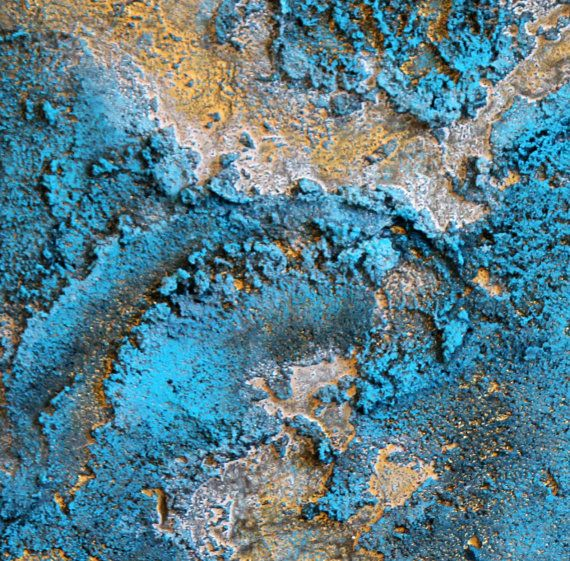Turquoise and gold abstract / ORIGINAL abstract / 4 Painting