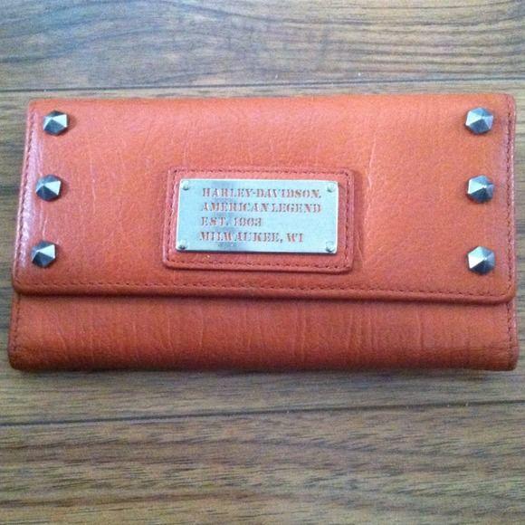 Orange leather wallet Orange Harley Davidson wallet with cute studded edges! harley davidson Bags Wallets