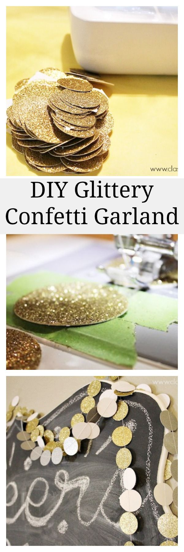 Diy Glittery Garland - great for New Year's Eve party decorations.