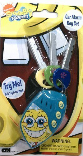 "SpongeBob Car Alarm Key Set by Creative Designs International, Ltd.. $8.39. Approx 5.5"" (14 cm) inches in length. Realistic Car Sound Effects. Recommended for Ages 3 & up. Spongebob keys make mulitple sounds for hours of fun for your little driver. Comes with Key Pad & 3 Plastic Keys. A car alarm key set like the one Spongebob would have himself."