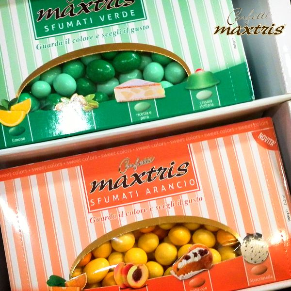 #confetti #maxtris #chocolate #shop #arancia #pesca #babbà #stracciatella