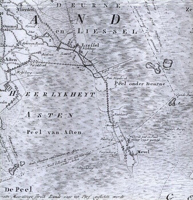 De doorgaande route van Liessel via Meijel door de Peelvenen, uitsnede van de Kaart figuratief... van Hendrik Verhees uit 1794.
