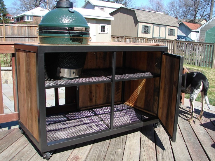 Big Green Egg Grill Table   Reclaimed Wood U0026 Steel. Comment If You Are  Interested