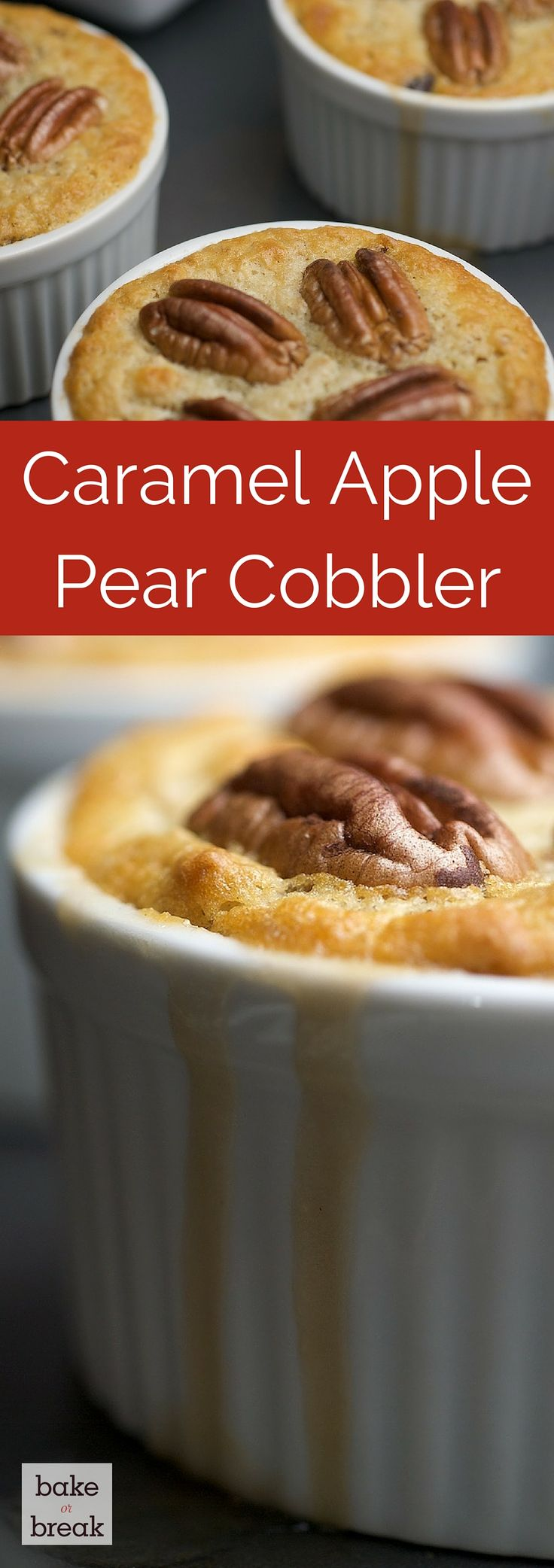 Caramel Apple Pear Cobbler is a delicious combination of fall flavors in a warm, comforting dessert! ~ http://www.bakeorbreak.com