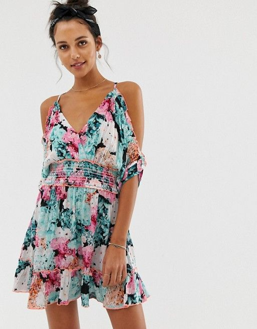 ec2ecde0859 River Island beach dress with cold shoulder in floral print in 2019 ...