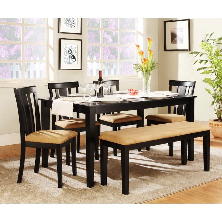 Homelegance Tibalt 6 Piece Rectangle Black Dining Table Set   60 In. With  Slat Back