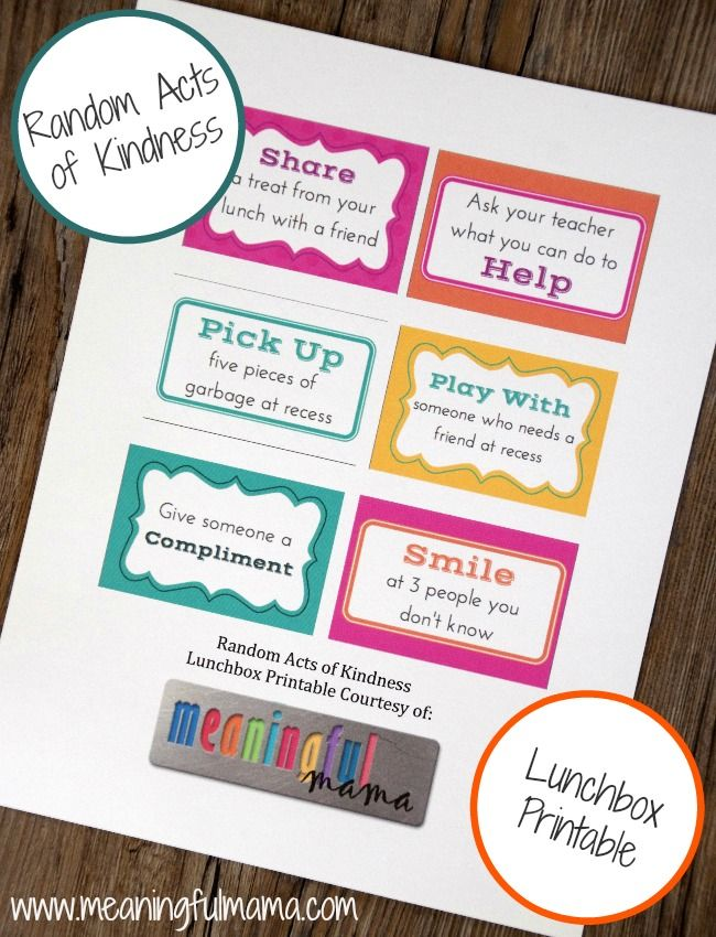 Random Acts of Kindness Lunchbox Printable - Meaningfulmama.com