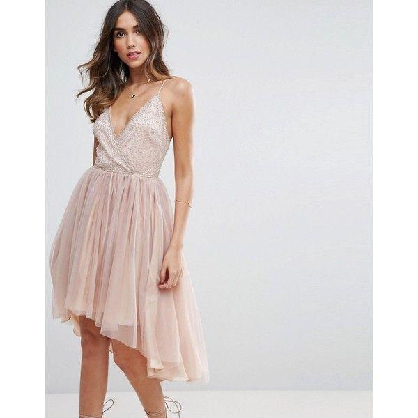 ASOS Ballerina Mesh Sparkle Tulle Midi Dress (132 CAD) ❤ liked on Polyvore featuring dresses, beige, high low party dresses, midi party dresses, tulle prom dress, cocktail party dress and hi low dress