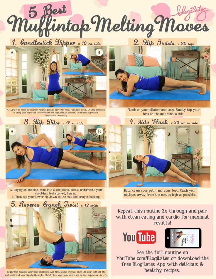 5 best moves to melt off your muffintop! 1. candlestick dipper 2. hip twists 3. hip dips 4. side plank 5. reverse crunch twist full length workout video here:https://www.youtube.com/watch?v=7pL3BesmaBM