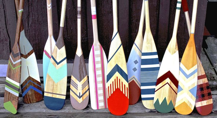 Beautiful hand painted canoe paddle collection by Ropes and Wood www.ropesandwood.com
