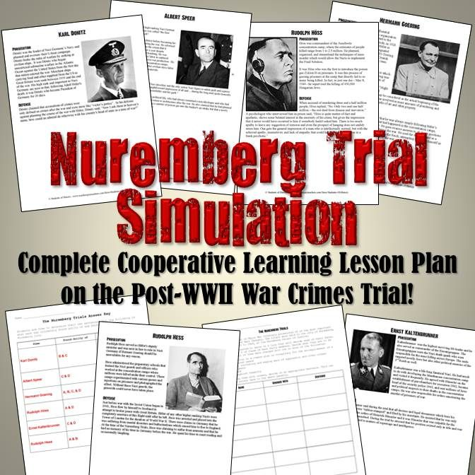 This fantastic higher level thinking lesson plan has students taking the role of a jury member in the Nuremberg Trials of accused Nazi war criminals after World War II. Includes 6 readings on Nazis tried at Nuremberg with a photo and an argument from the prosecution of the accused's crimes and defense. After reading, students charge him with one of the 4 crimes that were the actual charges at Nuremberg and then decide on an appropriate sentence.