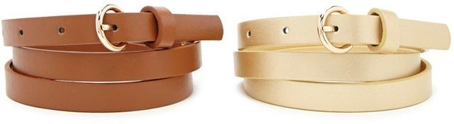 FOREVER 21 Faux Leather Skinny Belt Set ($3.90, in tan/gold)