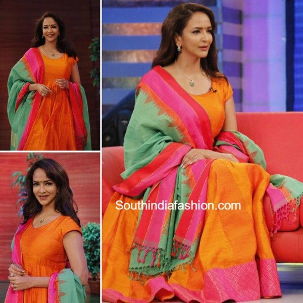 lakshmi manchu memusaitham bhargavi kunam orange anarkali 600x600 photo