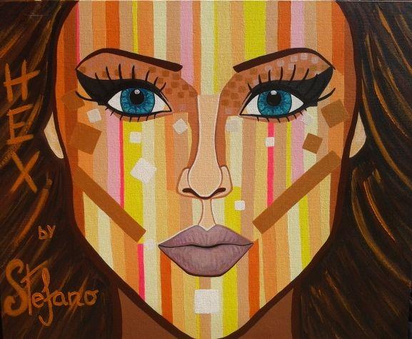 Hex by STEFANO acrylic on canvas(50x60cm) fashion art 2014 portrait,paint,painter,painting,modernpainting art,fineart,acrylic,artist,supermodel