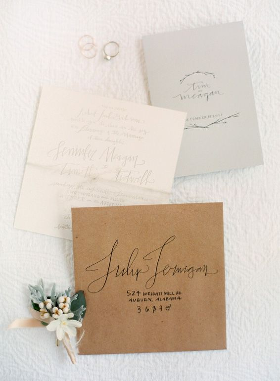 [by Jose Villa]: Winter Wedding Invitations, Idea, Color, Handwritten Invitations, Kraft Paper, Hands Letters, Envelope, Paper Good, Villas