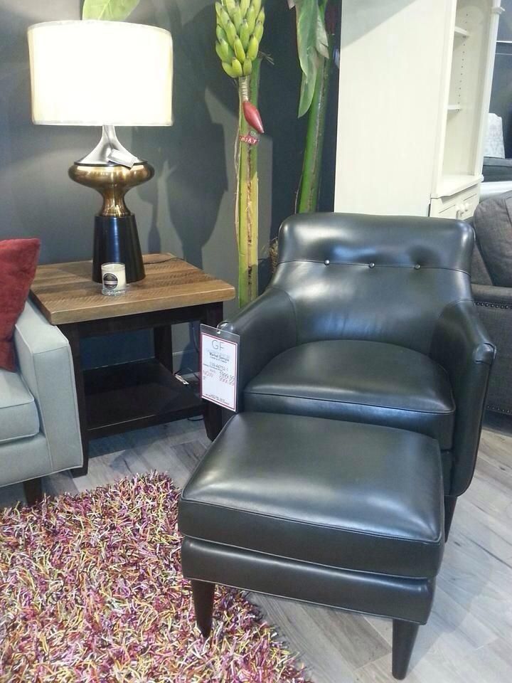 If Youre Looking For A Sophisticated Yet Comfortable Place To Kick Back Look No Further This Gorgeous Smooth Black Leather Accent Chair And Ottoman Will
