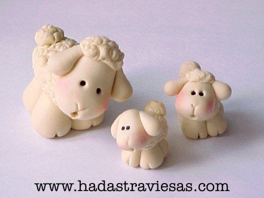 adorable momma sheep w/2 babies in clay...NO instructions/tutorial