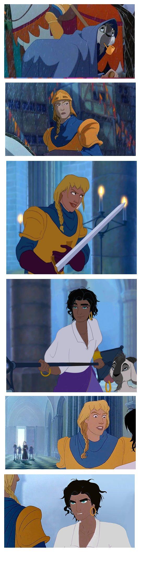 Phoebus and Esmeralda genderbend interaction by esmeraldo
