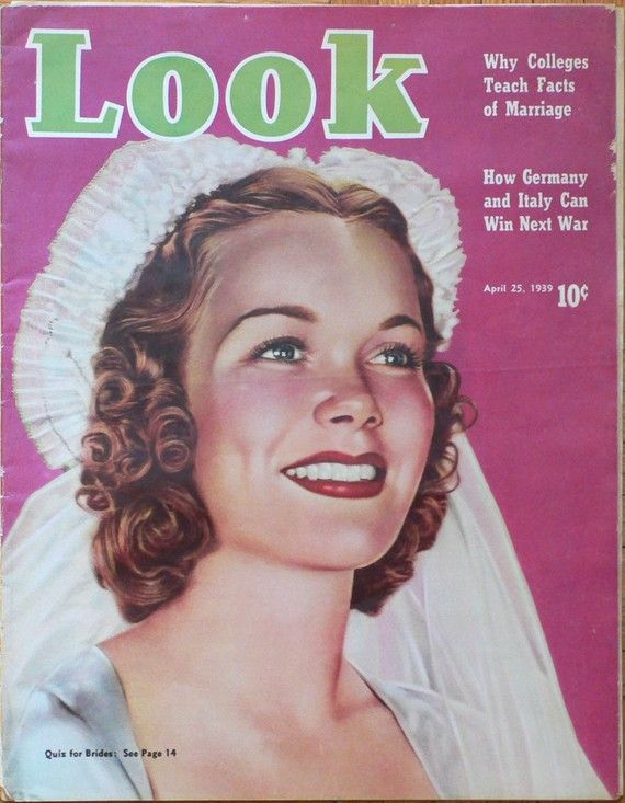 1939 LOOK MAGAZINE with beautiful pink VINTAGE BRIDE on the cover Cute wedding prop or shower gift via Etsy