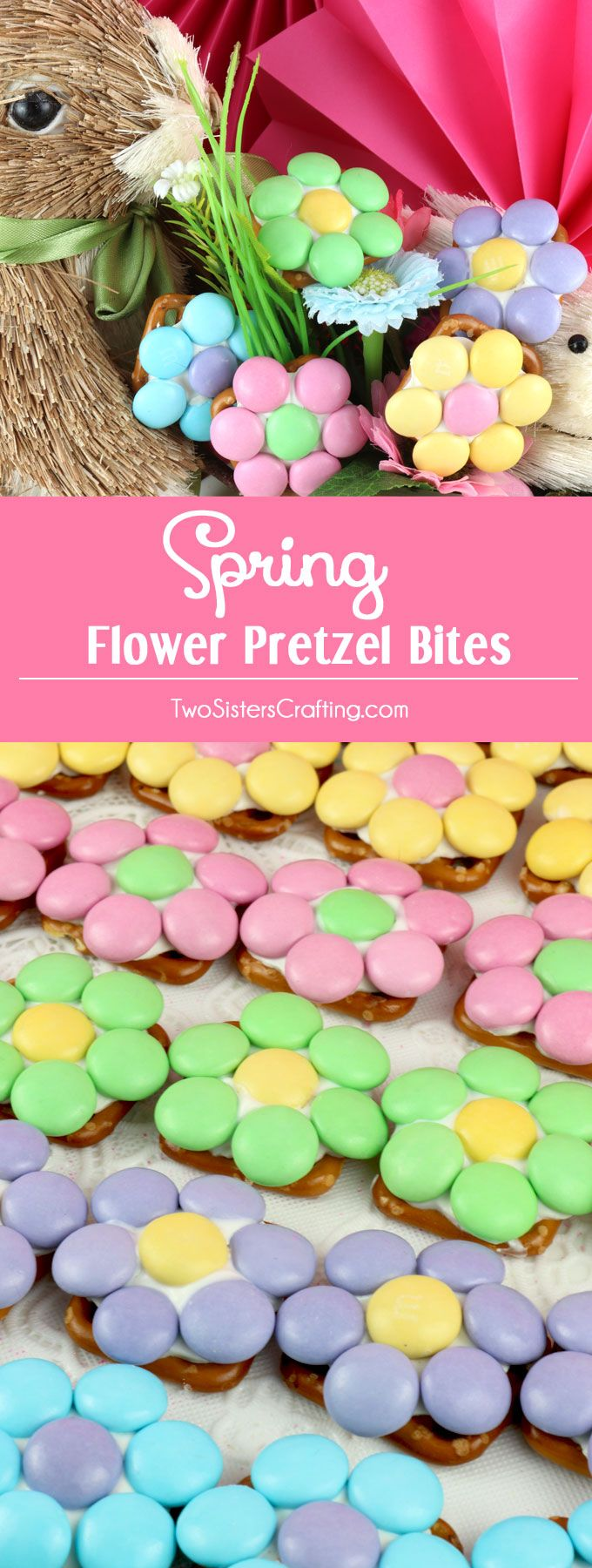 Easy to make Spring Flower Pretzel Bites. Sweet, salty, crunchy and delicious - what a great Easter Dessert.