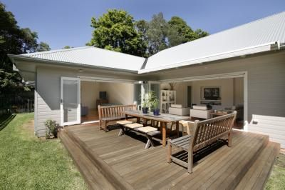 back deck, weatherboard house,