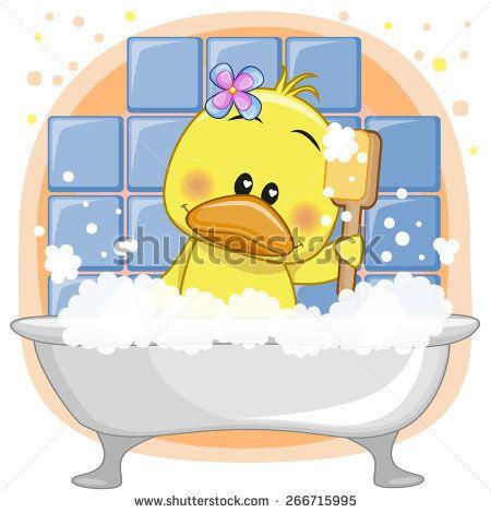 Image Of Cute cartoon Duck in the bathroom