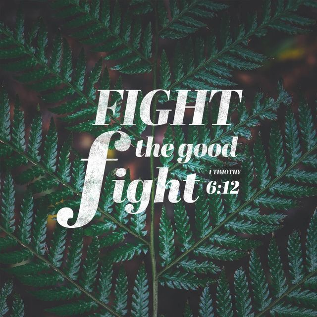 """Fight the good fight of faith, lay hold on eternal life, whereunto thou art also called, and hast professed a good profession before many witnesses."" ‭‭1 Timothy‬ ‭6:12‬ ‭KJV‬‬ http://bible.com/1/1ti.6.12.kjv"