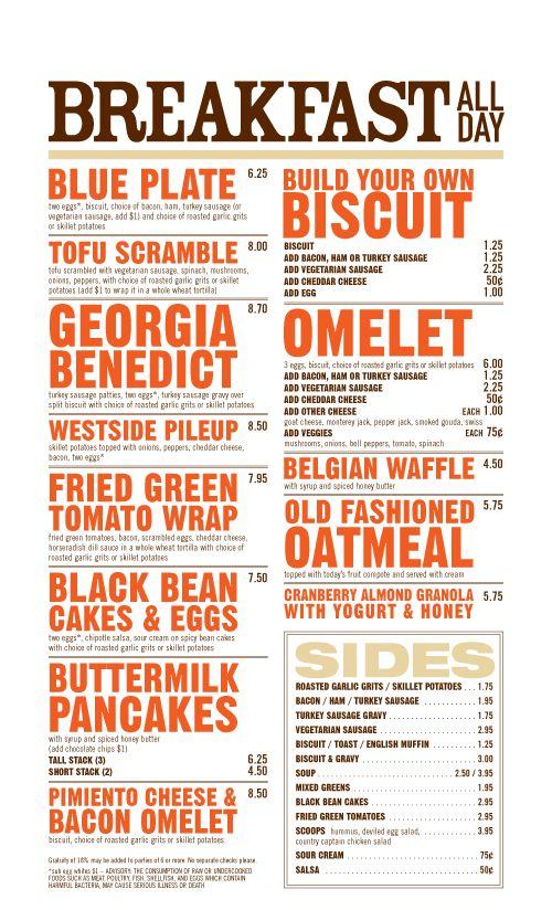 West Egg Cafe menu - Atlanta, GA