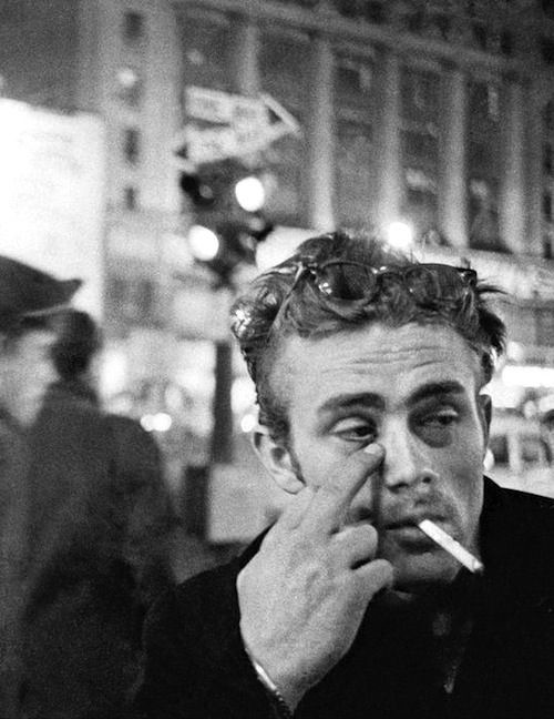 James Dean photographed by Dennis Stock in NYC, 1955.