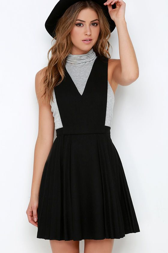 JOA Sophomore Sweetheart Black Pinafore Dress