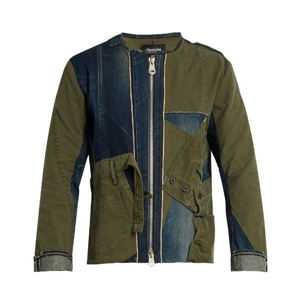 KURO Remake patchwork denim jacket ($322) ❤ liked on Polyvore featuring men's fashion, men's clothing, men's outerwear, men's jackets, blue multi, mens slim jacket, mens slim fit jackets, mens blue jean jackets, mens blue jacket and mens denim jacket