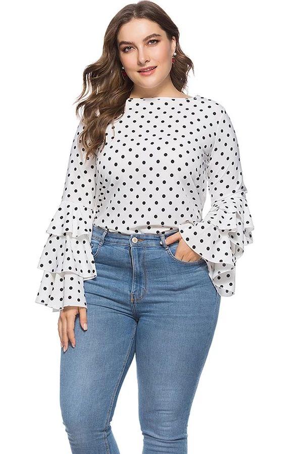 Plus Size Polka Dot Printed Blouse