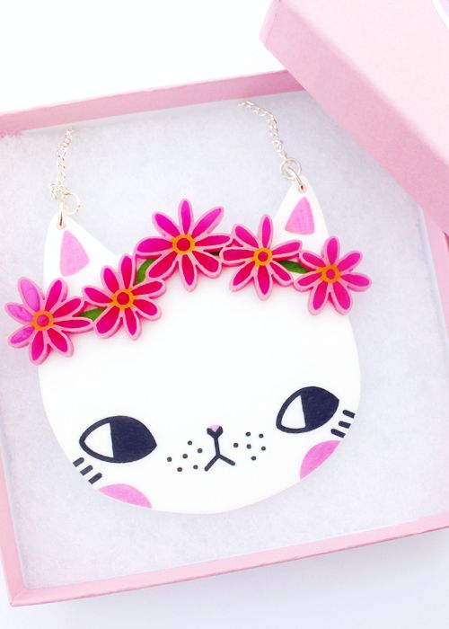 I Love Crafty | Daisy Chain Kitty Necklace Pink