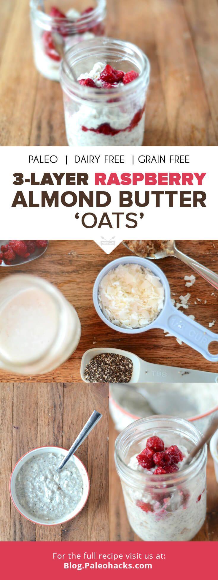 "This recipe is my version of an ""oats"" breakfast, complete with fresh berries and creamy almond butter! The chia seeds and coconut create an oatmeal-like texture, making for a filling and healthy meal. For the full recipe, visit us here: http://paleo.co/RABOats #paleohacks #paleo"