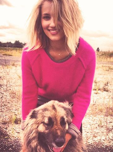 Diana Agron with cute dog.